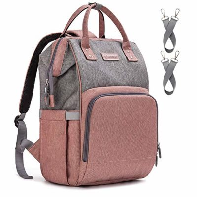 This is an image of a pink diaper bag with USB port and stroller straps by Upsimples.