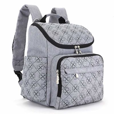This is an image of a 12 pockets grey diaper bag by HYBLOM.