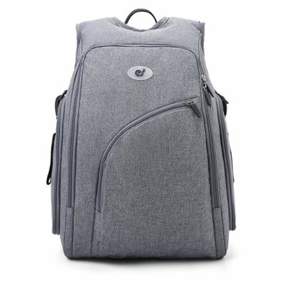 This is an image of a grey fully opened diaper travel backpack by ECOSUSI.