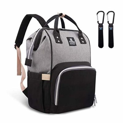 This is an image of a large black and grey nappy bag organizer with straps by Hafmall.