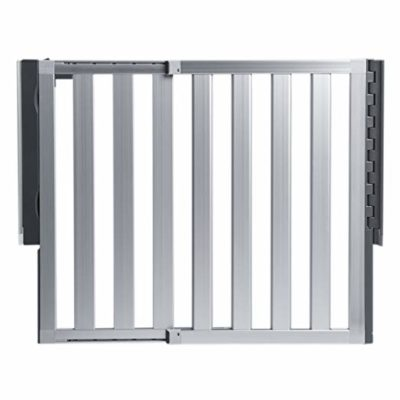 This is an image of a silver aluminum baby gate by Munchkin.
