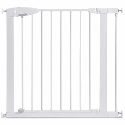 This is an image of a white easy close baby gate by Munchkin.