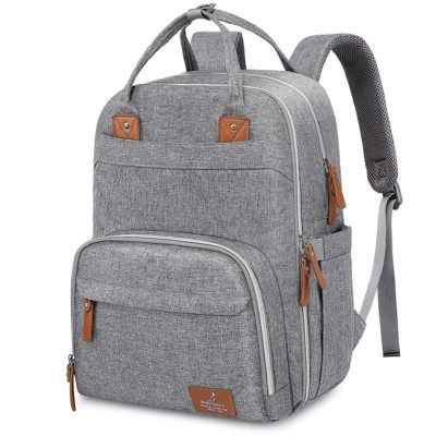 This is an image of a large grey baby diaper backpack by BabbleRoo.