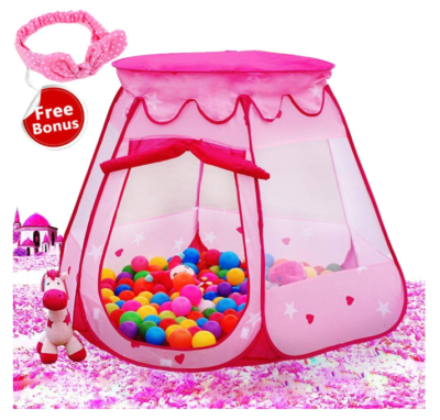 This is an image of a pink ball pit tent for little girls.