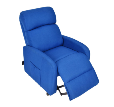This is an image of a blue lockable wheels armchair with storage pocket designed for kids.