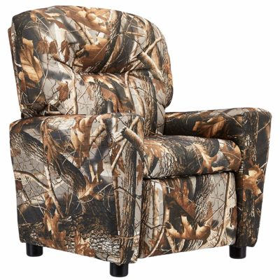 This is an image of a camouflage vinyl recliner with cup holder designed for kids.