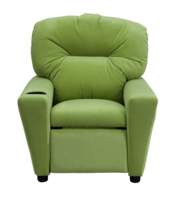 This is an image of an avocado microfiber recliner for kids.