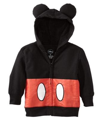 This is an image of a Mickey Mouse costume hoodie for toddlers.