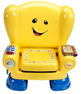 This is an image of a yellow activity smart chair for tioddlers.