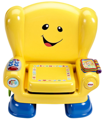 This is an image of a yellow activity smart chair for toddlers.