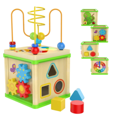 This is an image of a colorful wooden cube toy for little girls.