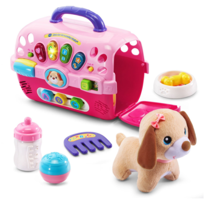 This is an image of a pet carrier toy set for 1 year old girls.