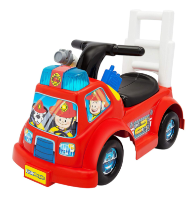 This is an image of a red ride on fire truck for toddlers.