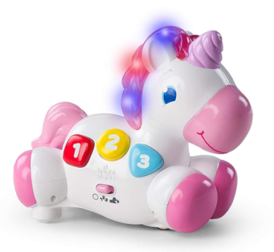 This is an image of a toddler's musical unicorn toy.