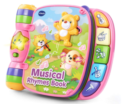 This is an image of a pink interactive musical book for kids.