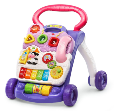 This is an image of a lavender interactive baby walker.