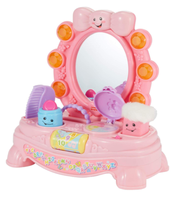 This is an image of a pink interactive mirror toy for girls.