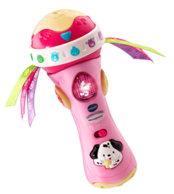 This is an image of a pink musical baby rattle toy.