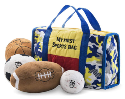 This is an image of a sports bag with 4 plush balls.