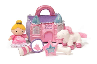 This is an image of a pink princess castle play set for little girls.