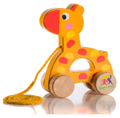 This is an image of a wooden giraffe toy for babies.