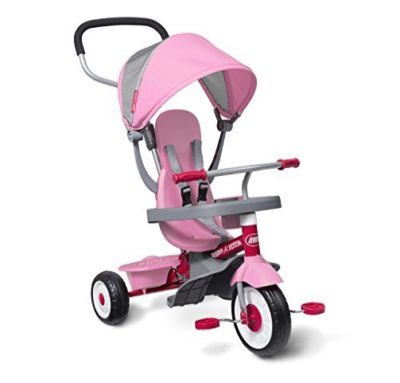 This is an image of a kid's pink stroll and trike.
