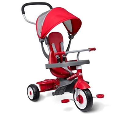 This is an image of a red stroll and trike for kids.
