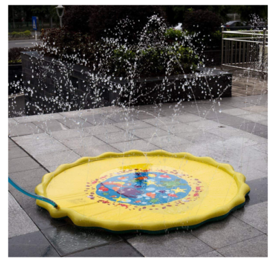 This is an image of a yellow water play mat for toddlers.