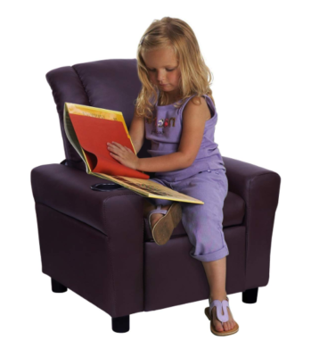 This is an image of a little girl sitting on a brown recliner.