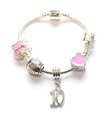 This is an image of a pink 10th birthday charm bracelet.