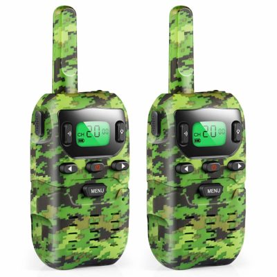 This is an image of a 2 camouflage walkie talkies for kids.