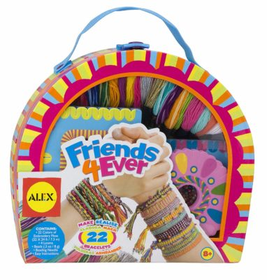 This is an image of a colorful friendship bracelet kit for kids.