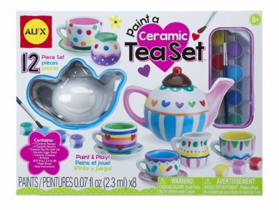 This is an image of a paint and play ceramic tea set for kids.