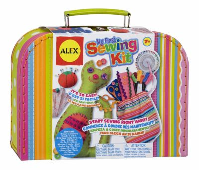 This is an image of a colorful sewing kit for kids.