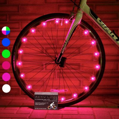 This is an image of a pink LED bike wheel lights.