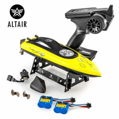 This is an image of a yellow Wave rc boat by Altair.
