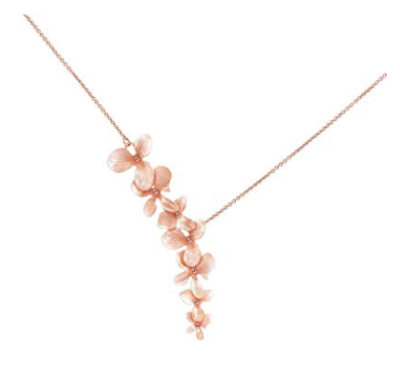 This is an image of a rose gold orchid flower plated necklace.