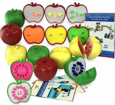 This is an image of an apple toy matching game for kids ages 3 years old.