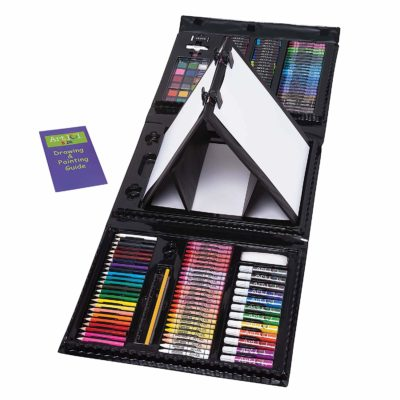 This is an image of a 179 piece double sided art set with drawing and painting guide book...