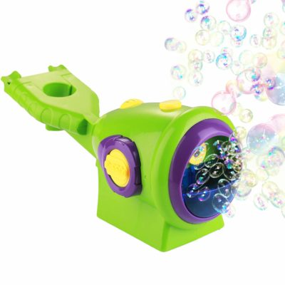 This is an image of a green automatic bubble machine for kids.