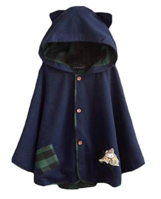 This is an image of a navy blue cat ear hoodie.