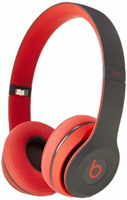 This is an image of a red wireless headphone.