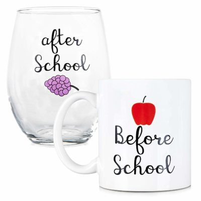 This is an image of a wine glass and coffee mug for teachers.