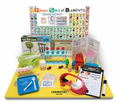 This is an image of a chemistry laboratory pad set for kids.