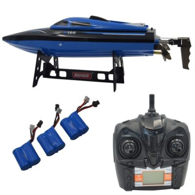 This is an image of a blue rc boat with extra batteries by Blomiky.