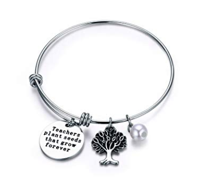 This is an image of a stainless steel personalized bangle bracelet.