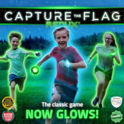 This is an image of a Glow in the dark capture the flag outdoor game.