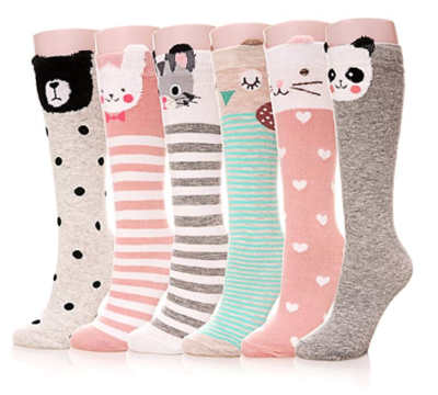 This is an image of a 6 pair animal socks for kids.