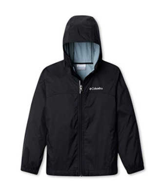 This is an image of a black rain jacket,