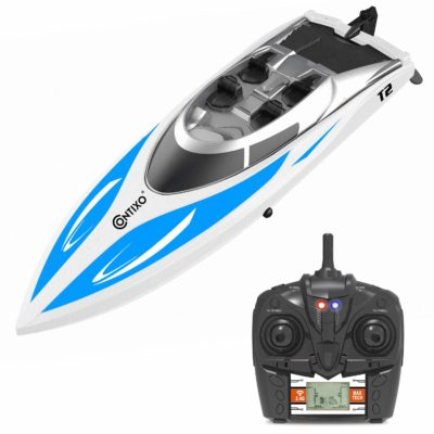 This is an image of a blue T2 rc boat by Contixo.